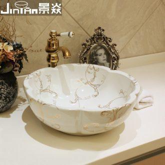 JingYan European art stage basin of jingdezhen ceramic lavatory on the sink American hand washing dish basin