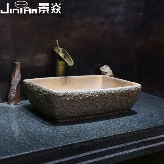 JingYan stone grain art stage basin rectangle ceramic lavatory toilet lavabo Chinese style restoring ancient ways is the stage