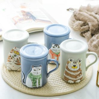 Japanese mugs of cartoon cat content of jingdezhen creative lovely office cup with cover cup of milk