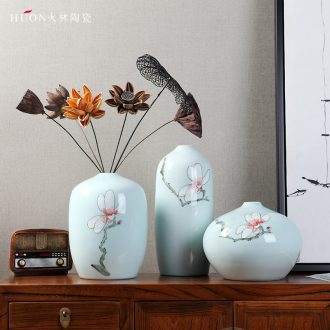 Classical Chinese style home decoration ceramic crafts vase sitting room practical three-piece furnishing articles wedding gift