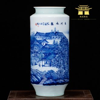 Jingdezhen ceramics landscape hand-painted vases, flower arranging furnishing articles study of new Chinese style household act the role ofing is tasted sitting room a gift