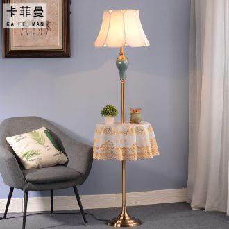 American ceramic floor lamp sitting room sofa tea table lamp creative Nordic light luxury study vertical desk lamp of bedroom the head of a bed
