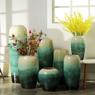 Nordic landing big vase furnishing articles European contemporary and contracted hotel ceramic emerald green stores sitting room adornment flower arrangement