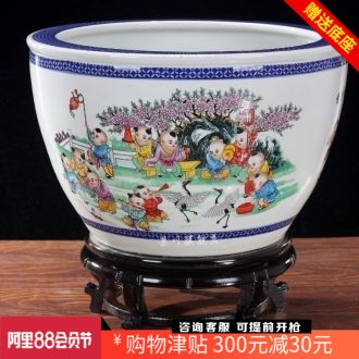 Goldfish bowl lotus cylinder cylinder tortoise jingdezhen ceramics household adornment is placed the lad yuanxiao aquarium