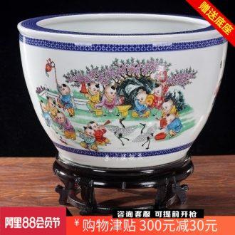 Goldfish bowl lotus cylinder cylinder tortoise jingdezhen ceramics household adornment is placed the lad yuanxiao aquarium