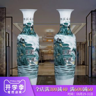 Jingdezhen ceramics hand-painted bright future of large vases, sitting room adornment is placed hotel opening gifts