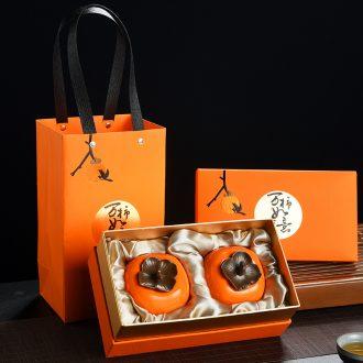 Persimmon persimmon ruyi looking old, small mini persimmon ceramic creative caddy tea POTS pet furnishing articles sealed jar