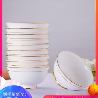 10 charge jingdezhen ceramic bowl phnom penh contracted household 4.5 -inch rice bowls white ceramic bowl suit