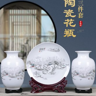 Jingdezhen ceramics vases, flower arranging three-piece suit Chinese place to live in the sitting room TV ark adornment small handicraft