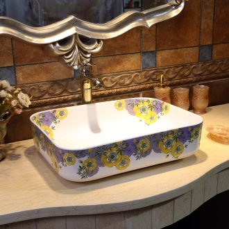 JingWei stage basin ceramic lavabo rectangle lavatory Nordic wash basin of blossoming peach blossom