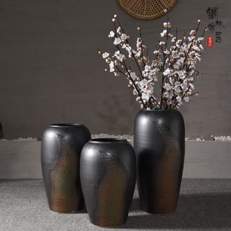 Jingdezhen ceramic vase landing large Chinese style restoring ancient ways is dried flowers sitting room hotel villa do old vase furnishing articles