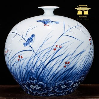 Jingdezhen ceramics famous master hand painted blue and white porcelain vases, rich ancient frame archaize sitting room office furnishing articles
