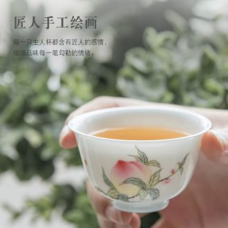 Jingdezhen handmade ceramic cups sample tea cup master cup single cup hand-painted pastel noggin kung fu tea light