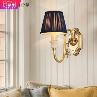 Emperor American rural restoring ancient ways all ceramic wall lamp luxury atmosphere brass sitting room background wall lamp lamp of bedroom the head of a bed
