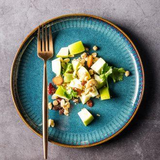 Western-style steak plate plate household northern wind flat ceramic tableware creative web celebrity good-looking platter round dish bowl