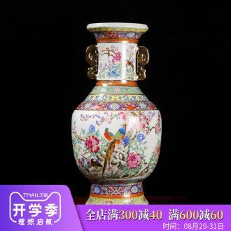 Jingdezhen ceramics imitation qianlong year paint powder enamel ears vase archaize sitting room adornment is placed