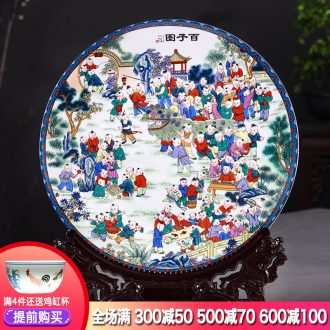 Hang dish of jingdezhen ceramics decoration plate figure Chinese wine rich ancient frame sitting room adornment is placed the ancient philosophers
