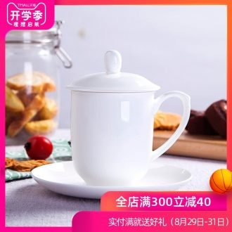 Office of jingdezhen ceramic bone China cups white cup boss mug cup meeting custom LOGO cups with cover