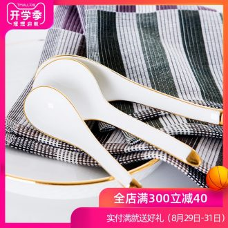 Jingdezhen ceramic bone China tableware hand paint edge scoop small spoon scoop rice spoon creative household