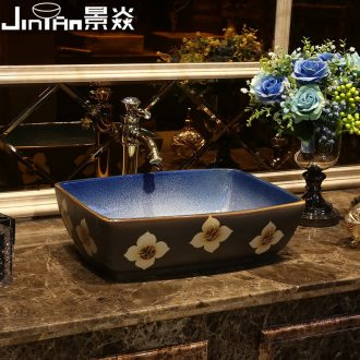 JingYan lily art stage basin of Chinese style restoring ancient ways ceramic lavatory rectangular basin archaize on the sink