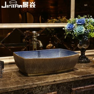 JingYan Chinese carving art stage basin ancient ceramic lavatory basin archaize rectangle on the sink