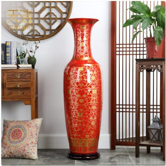 Jingdezhen China red paint sitting room of large vase China dragon ceramics hotel lobby hall furnishing articles