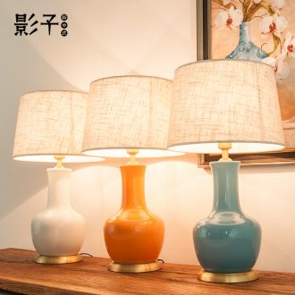 Modern American simple full copper ceramic desk lamp orange celestial hotel study bedroom berth lamp sitting room 1035