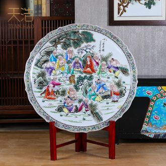 Jingdezhen ceramics rich ancient frame table wine TV ark office furnishing articles home decoration plate hanging dish round plate