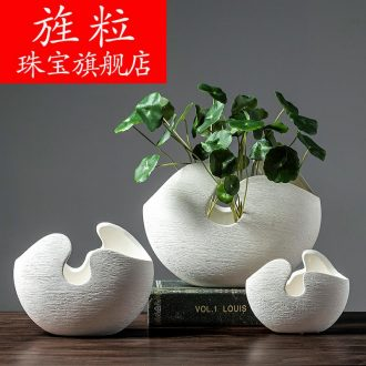 Cz Nordic idea of white ceramic flower vases hydroponic flower implement contemporary and contracted household soft adornment sitting room set
