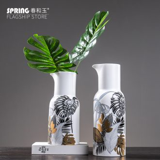 Boreal Europe style ceramic vase furnishing articles little pure and fresh and mesa simulation flower flower adornment household living room decoration