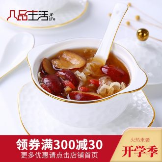 Bone China cup ears water cup stew stew bird's nest household size with cover steaming cup white bladder ceramic 2 people