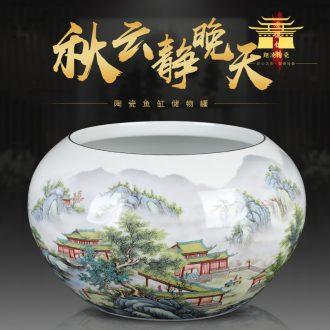 Manual large antique famille rose porcelain flowerpot aquarium writing brush washer teahouse fortune cornucopia decoration pen sea