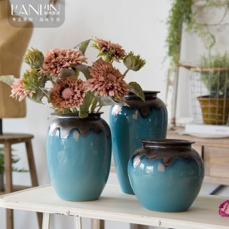 Contemporary and contracted mesa vase sitting room dry flower arranging flowers flower implement fleshy flower pot American ceramic Nordic furnishing articles, restoring ancient ways