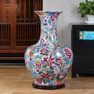 Jingdezhen ceramics archaize qianlong pastel flower is big gourd vases collection place Chinese sitting room adornment