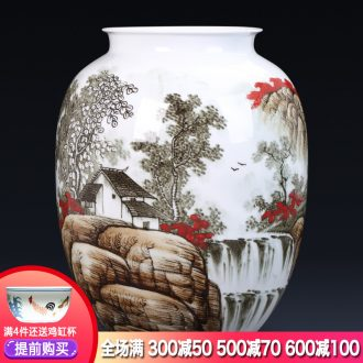 Jingdezhen ceramics hand-painted master of landscape painting large vases, flower arranging new Chinese style porch decoration furnishing articles