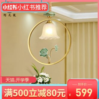 American restaurant copper lamp light contracted creative balcony porch corridors lobby bar ceramic lotus small droplight