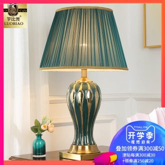European bedside table lamp creative American romantic and warm bedroom light remote control home sitting room luxury ceramic lamps and lanterns