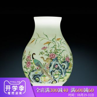 Jingdezhen ceramics vase dry flower arranging wide mouth lucky bamboo new Chinese style household wine sitting room adornment is placed