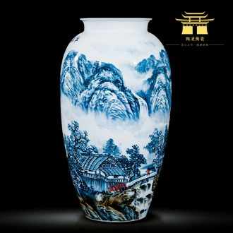 Jingdezhen ceramics celebrity hand-painted master of landscape painting large vases, home sitting room office hotel furnishing articles