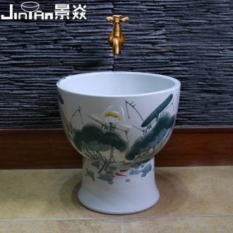 JingYan ink lotus pool balcony ceramic art mop mop pool to wash the mop basin basin of Chinese style mop pool