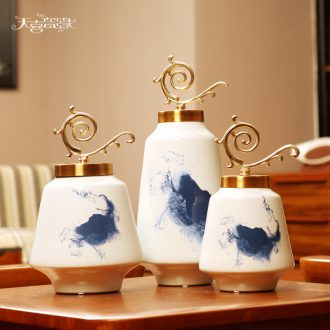 Modern new Chinese style living room ceramic vase furnishing articles American household table dry flower arranging TV ark adornment ornament