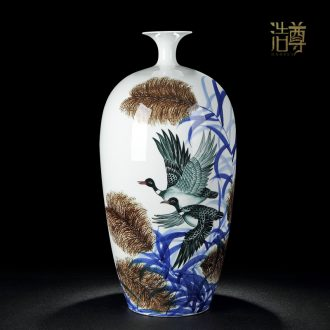 Jingdezhen ceramic large vases, antique hand-painted blue and white porcelain painting of flowers and household porcelain furnishing articles porch decorate gifts