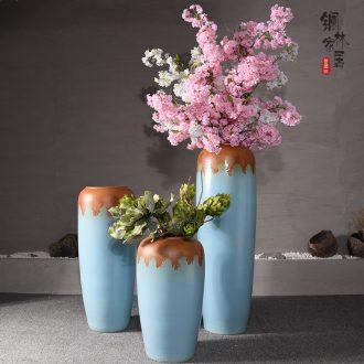 Jingdezhen ceramic european-style hotel villa porch sitting room of large vase flower flower decoration flower arranging furnishing articles