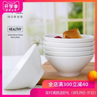 Is rhyme of jingdezhen ceramic bowl household new hand-painted bone China contracted white hat to bowl Chinese eat bread and butter