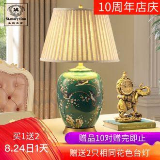 Santa marta American country full copper ceramic desk lamp sitting room sitting room the bedroom in British English large green rural desk lamp