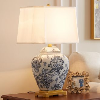 New Chinese style ceramic desk lamp sitting room full of copper bedroom berth lamp villa between example of jingdezhen blue and white porcelain lamp