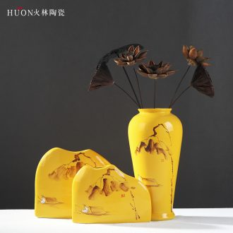 Chinese zen vase jingdezhen ceramic contemporary and contracted home sitting room adornment furnishing articles furnishing articles dried flowers flower arrangement