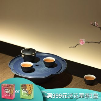 Million kilowatt/hall new tea tray ceramic household water bearing manual throwing kung fu tea tea tea tray bearing 02 a lotus leaf
