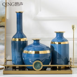 European contracted sitting room creative flower arranging furnishing articles home decoration ceramic dry flower vase floral decoration blue vase
