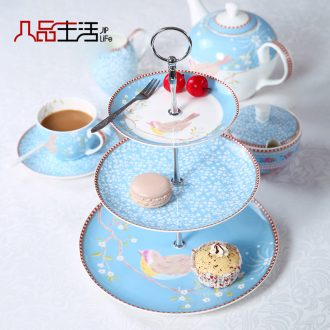 European ceramic snack plate candy dishes afternoon tea fruit tray bone China creative three layer cake pan dry fruit tray